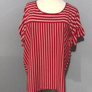 Red & White Striped Ruffle Sleeve Top